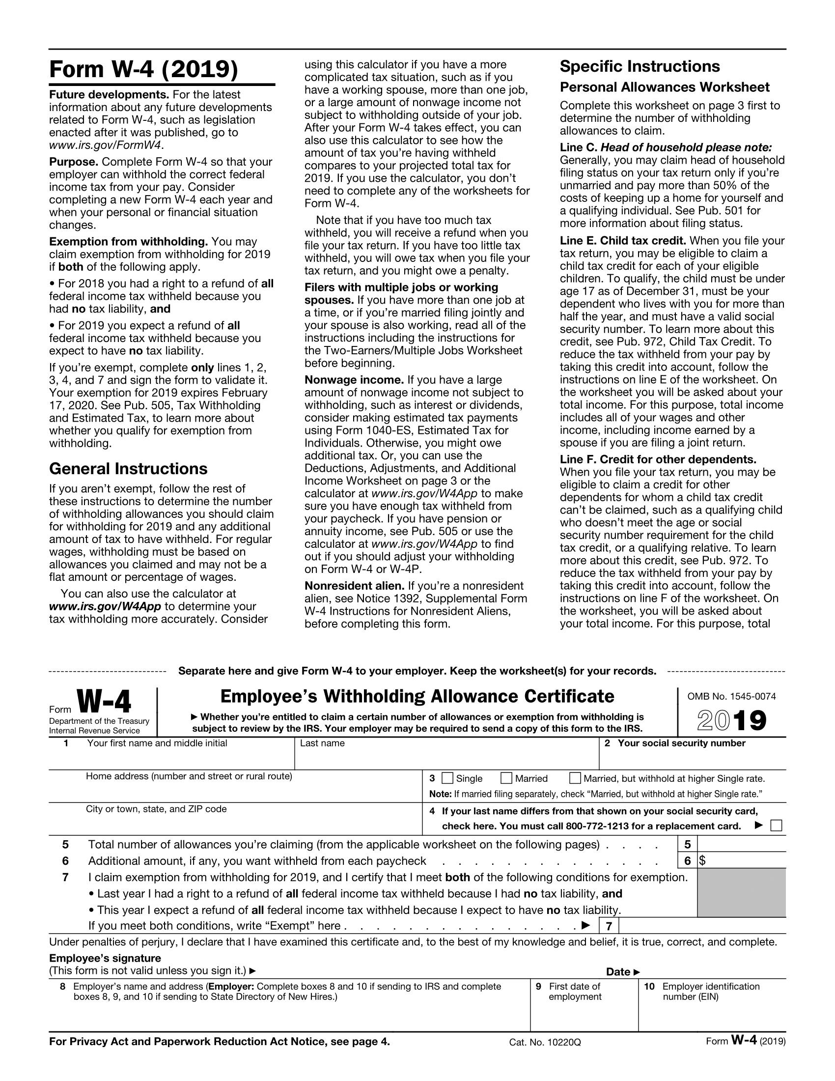 Form W-4 Page 1