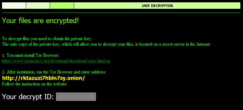 Mensaje de notificación de ficheros encriptados por el malware Jaff ransomware