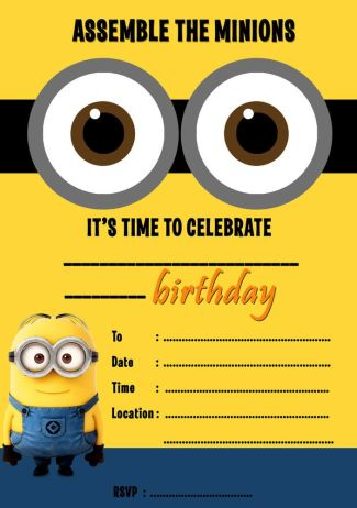 minion themed invite