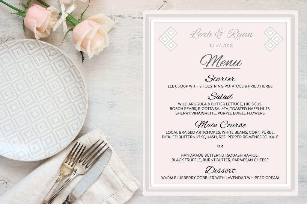 How to Keep Your Wedding Celebration Simple Yet Elegant- Menu