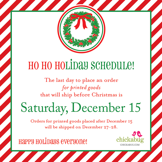 Holiday Shop Schedule Chickabug