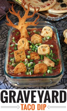 Graveyard taco dip - a fun and easy recipe for Halloween!