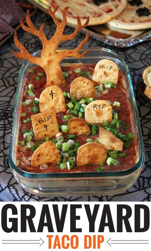 Graveyard taco dip - a fun and easy recipe for Halloween!