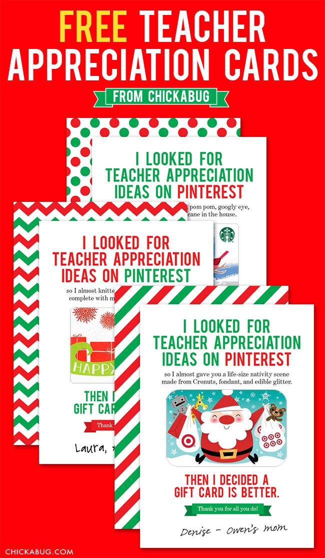 FREE Teacher Appreciation Cards For The Holidays