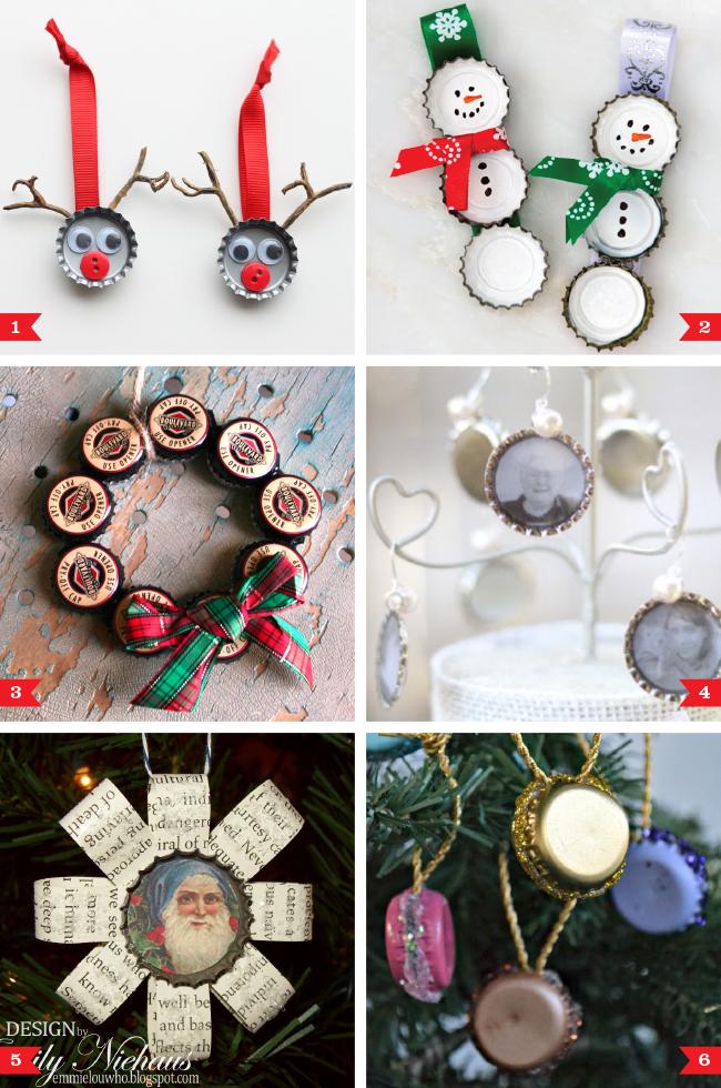 DIY Bottle Cap Christmas Ornaments Chickabug
