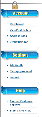 my account dashboard options