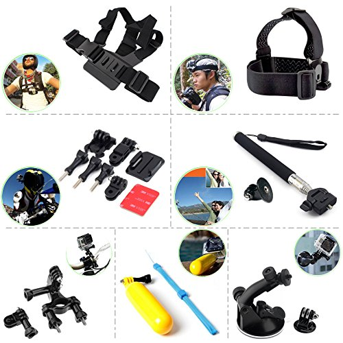MagicQ-Craft-7-in-1-Bundle-Accessories-Kits-For-Official-Gopro-Go-Pro-Hero-1-2-3-3-4-SJCAM-Wifi-SJ4000-M10-Sport-Action-Camera-Sunco-DREAM-2-Cam-etc-includes-Chest-Body-Harness-Adjustable-Belt-Strap-E-0