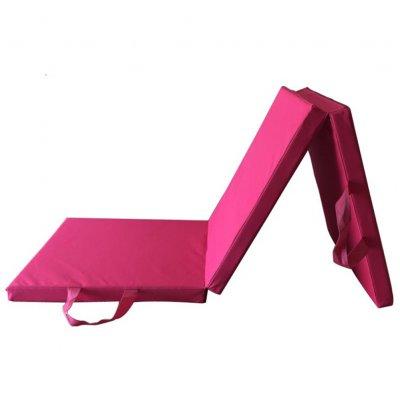 Soft Exercise Tri-Fold Gym Mat for Gymnastics Aerobics Yoga Martial Arts Pink Oxford cloth