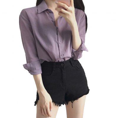 Women Blouse Lapel Shirt Long Sleeve Purple Casual Loose Base Shirt Tops purple_2XL