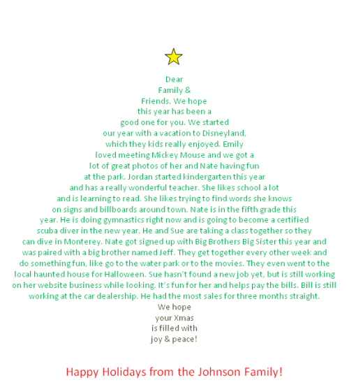 Letter In The Shape Of A Christmas Tree