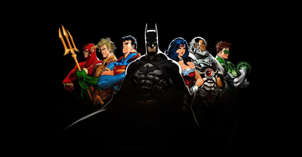 Die Helden des DC-Comic-Universums: Flash, Aquaman, Superman, Batman, Wonder Woman, Cyborg, Green Lantern