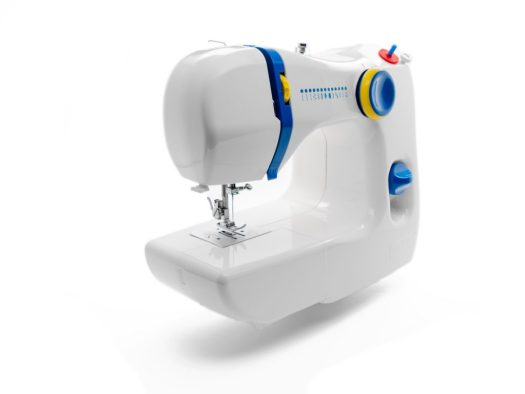 White sewing machine against white background