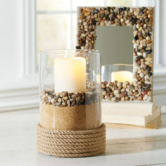 frame and candle holder with stones