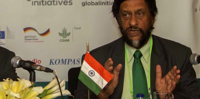 Rajendra Pachauri, Chair of the Intergovernmental Panel on Climate Change (IPCC), speaking on the last day of the Forests Asia Summit in Jakarta.