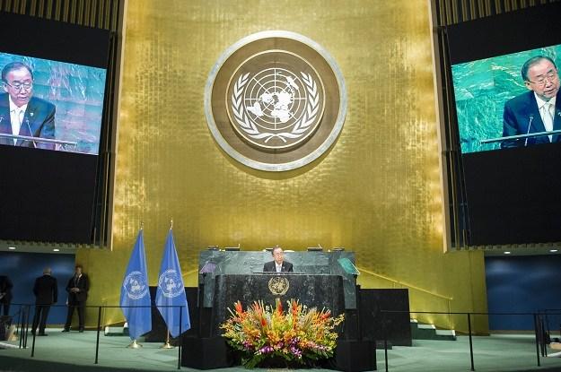 Sekretaris Jenderal PBB Ban Ki-moon membuka Pertemuan Tingkat Tinggi mengenai Penerapan Perjanjian Paris pada 21 September 2016. Rick Bajornas/UN Photo