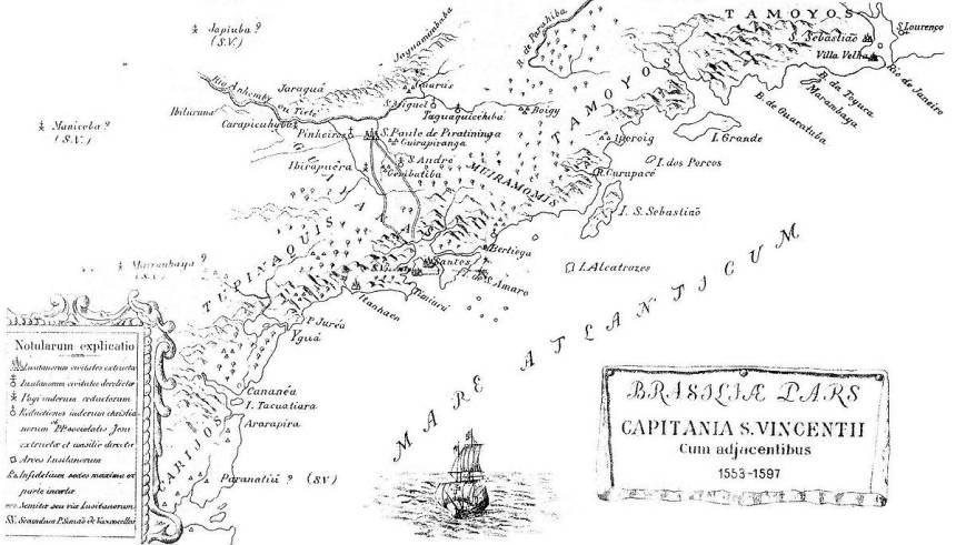 Mapa da Capitania de São Vicente. Fonte: Arquivos da Internet