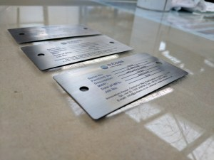 Metal data plates printed on with full colour logo and text.