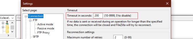 Connection Timeout Error filezilla