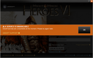Might & Magic Heroes VI : service unavailable
