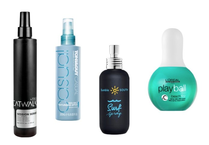 Alcuni esempi di sea salt spray: Tigi, Toni & Guy, Bumble & Bumble e L'Oreal