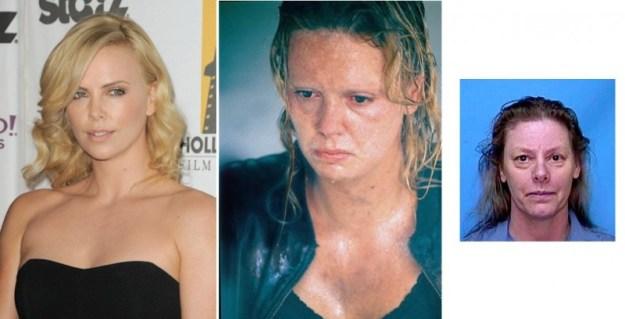La trasformazione di Charlize Theron nell'assassina Aileen Wuornos (nella foto piccola) per il film Monster