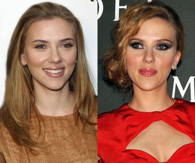 Scarlett Johansson: a destra nella versione il trucco c'è e si vede, a sinistra invece con un look naturale e quasi impercettibile, ma visibile ai nostri occhi esperti ehehe