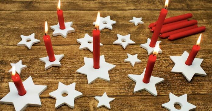 lavoretti di natale per bambini: con la pasta di sale si possono realizzare dei bellissimi porta candele da mettere a tavola