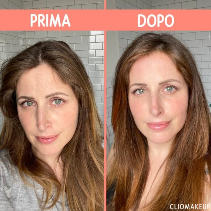 maschere riflessanti: clio prima e dopo l'applicazione del color refresh maria nila