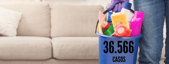 homem segurando produtos e itens de limpeza, representando um faxineiro. número 36.566 casos