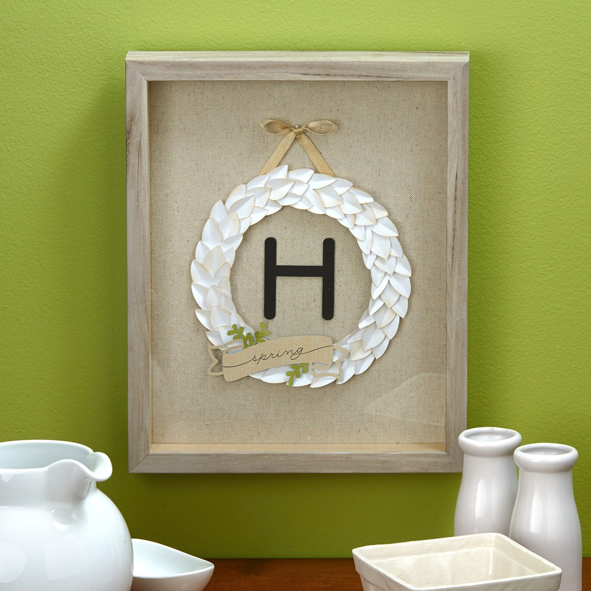 Framed Monogram Wreath #ctmh #closetomyheart #monogram #wreath #neutral #diy #decor #Cricut #flowermarket #flower #rawwood #distressed #weathered #shabbychic #modernantique #antiqued