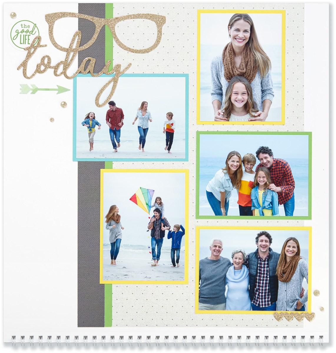 Through the Year #ctmh #closetomyheart #throughtheyear #calendar #kit #scrapbooking #scrapbook #memorykeeping #keepsake #gift #diy #family #Chrismas #present #photos #gold #glitter #diecut #gems #hearts #glasses #goodlife