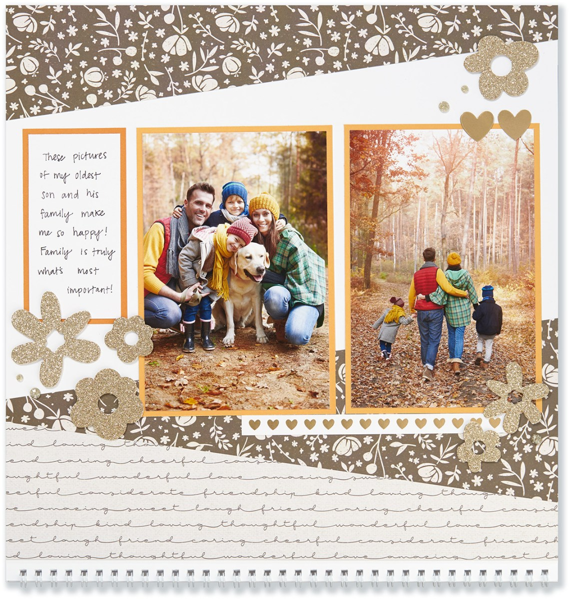 Through the Year #ctmh #closetomyheart #throughtheyear #calendar #kit #scrapbooking #scrapbook #memorykeeping #keepsake #gift #diy #family #Chrismas #present #photos #gold #glitter #diecut #gems #flowers #hearts