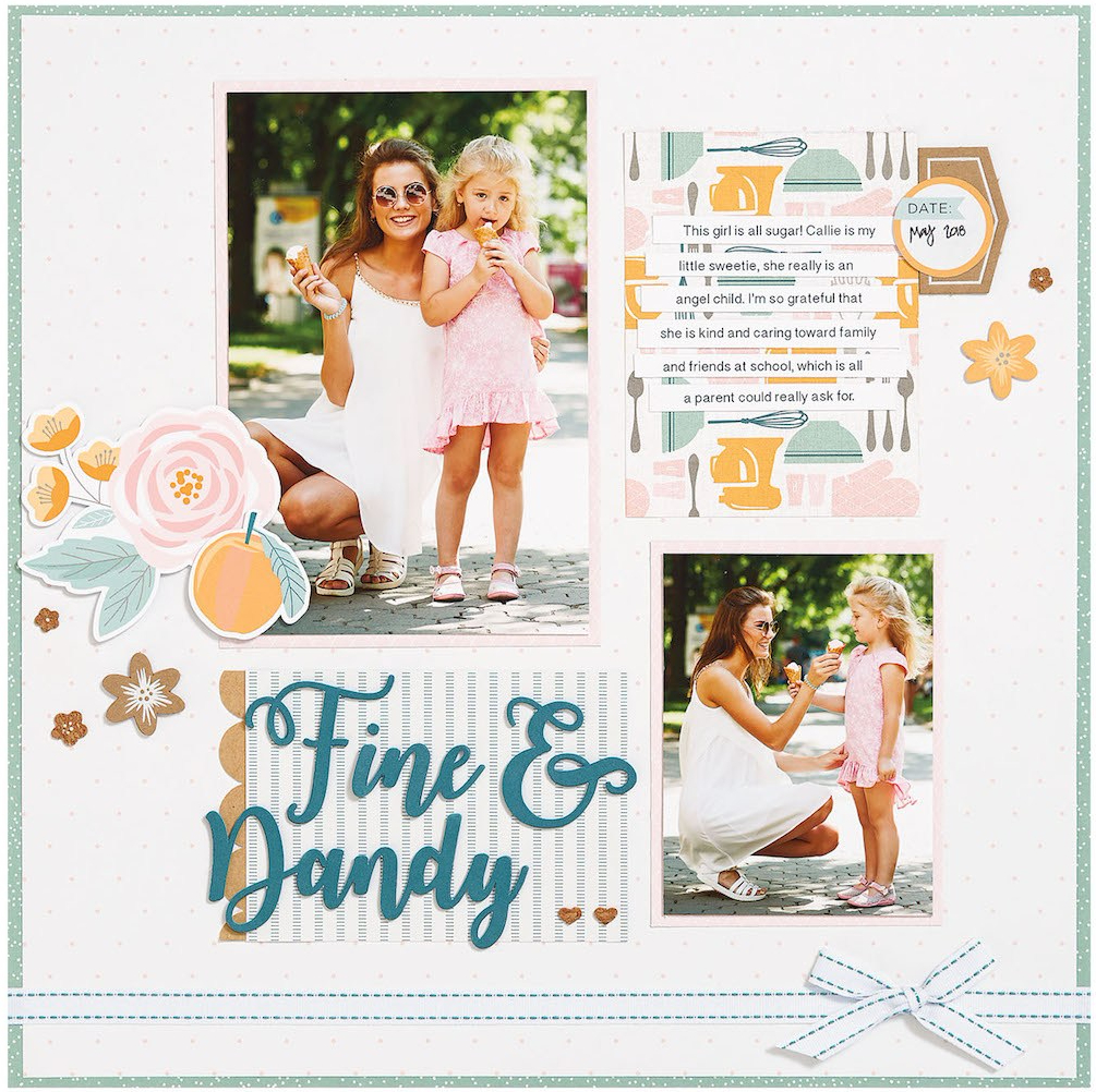 complement day #ctmh #closetomyheart #diy #page #layout #album #scrapbooking #scrapbook #photo #memory #keeping #girls #girly #friends #gimmesomesugar #gimme #some #sugar #kitchen #pink #flowers #floral #rustic #hearts #embellishment #embellish #complement #compliment #stickers #accessories #accessory #bashful #peacock #woodgrain #wood