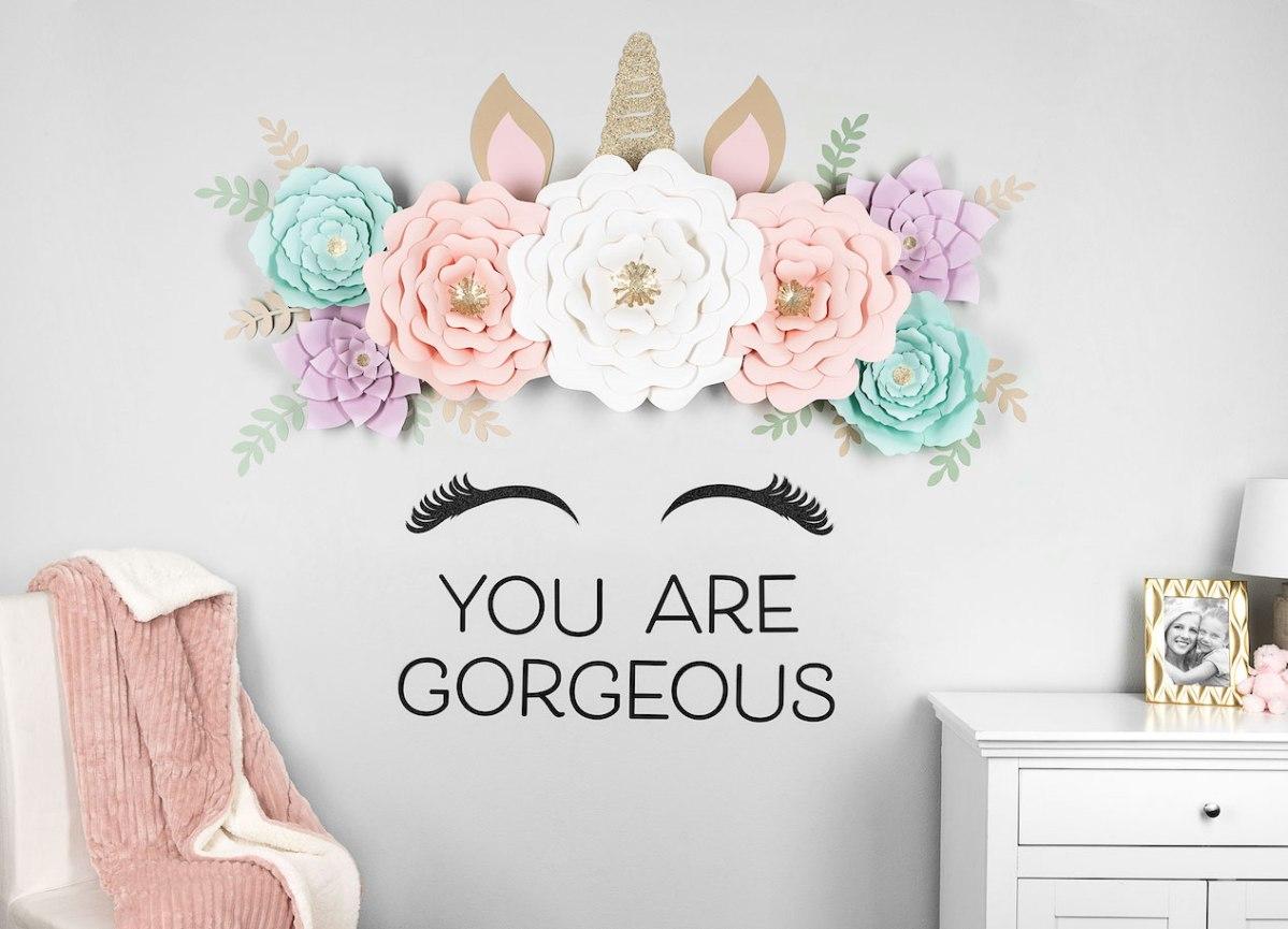 Floral Unicorn Wall #ctmh #closetomyheart #nationalpapercraftingmonth #unicorn #diydecor #cricut #flowermarker #paperflower #paperunicorn #girlsroom #youaregorgeous #diy #free #template