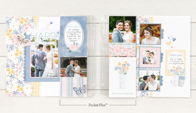 Scrapbooking with Pockets #closetomyheart #ctmh #ctmhpockercardperfection #scrapbooking #pocketscrapbooking #picturemylife #pocketplus #flipflaps #weddingscrapbook