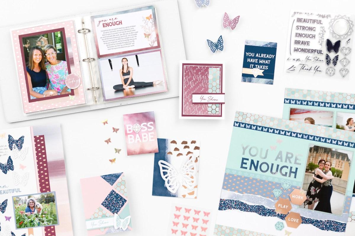 You Are Enough Paper Collection #closetomyheart #ctmh #ctmhyouareneough #ctmhnsm #ctmhnationalscrapbookingmonth #nsm #nationalscrapbookingmonth #scrapbooking #minialbum #cardmaking
