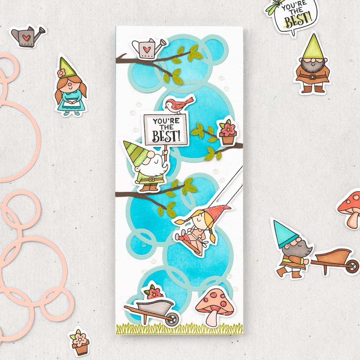 Slimline Cards #closetomyheart #ctmh #nationalstampingmonth #slimlinecelebration #slimlinecards #slimline #cardmaking #gardengnomes
