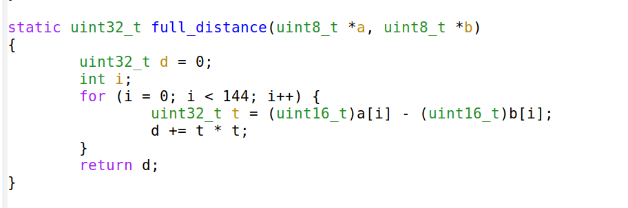 Here's how to count the squared distance in C