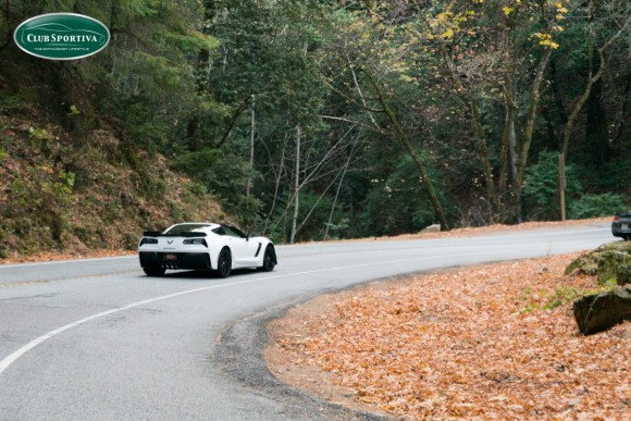 C7 Z06 corvette driving in the mountains