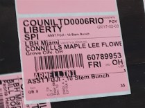 A tag identifies flowers destined for Connells Maple Lee.