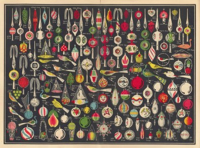Pages from a 1936 trade catalog, Erwin Geyer, Lauscha, Germany (bib no. 101943), illustrating ornaments, as well as other decorative items for Christmas.