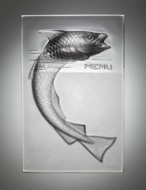 Menu Holder, Poisson (Fish) Combs-la-Ville or Wingen-sur-Moder, designed 1931 Mold-pressed glass, acid-etched H. 14.8 cm, W. 10.4 cm, D. 3.4 cm 2011.3.393, gift of Elaine and Stanford Steppa
