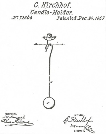 The patent for the counterbalanced candleholder, granted to Charles Kirchhof in 1867. (From pg. 12 of The golden glow of Christmas past, v. 16, no. 1, Feb. 1995)