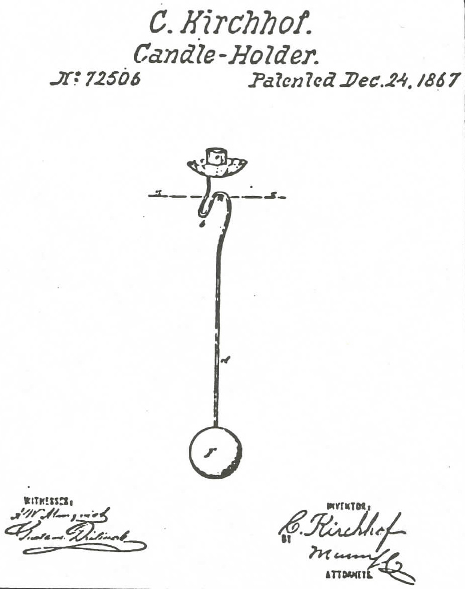 the patent for the counterbalanced candleholder granted to charles kirchhof in 1867 from - Golden Glow Of Christmas Past