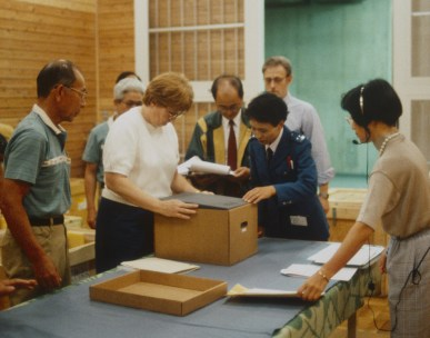 Couriering objects to Yokohama, Japan, in 1992.