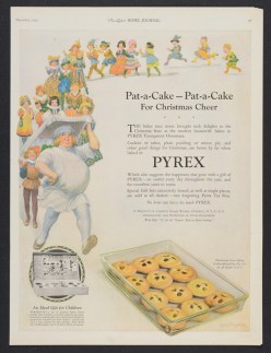 """Original magazine advertisement from the Dianne Williams Collection on Pyrex: """"Pat-a-cake, pat-a-cake for Christmas cheer."""" Published in Ladies' Home Journal, December 1924. CMGL 140283."""