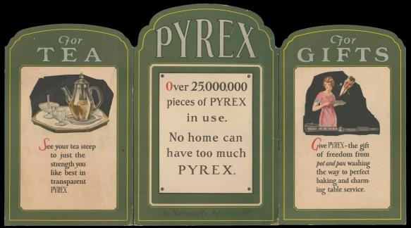 """Dianne's favorite piece of ephemera from her collection is this 3-panel cardboard display: """"Pyrex, for tea, for gifts,"""" circa 1925. CMGL 123580."""