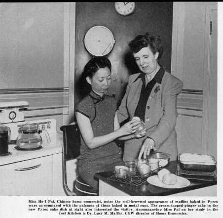Lucy Maltby welcomes a home economist from China in the Test Kitchen. The Gaffer, September 1946. . Courtesy of the Corning Incorporated Department of Archives & Records Management, Corning, NY.