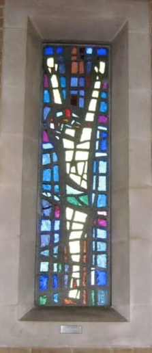 A photograph of the stained glass window installation at St. Peter's Church, Lawrence Weston, Bristol (http://www.whitefriars.com/forum/index.php?topic=4720.0, courtesy of poster Mike CB).