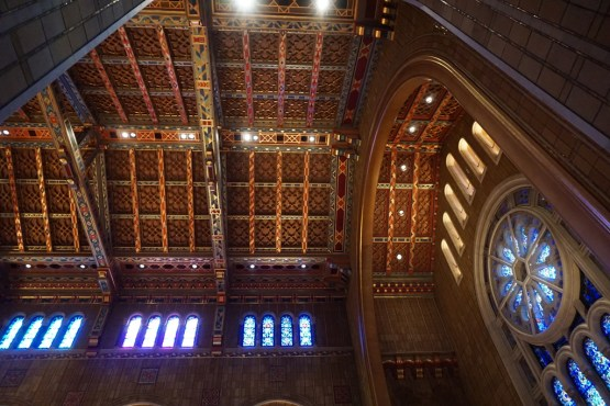 Interior of Temple Emanu-El in New York City. The windows that matched the cartoons we treated in the lab were high up in the clerestory.